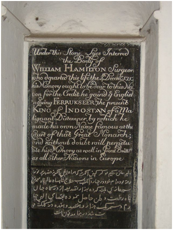 Image: William Hamilton's epitaph at St. John's Church, Kolkata
